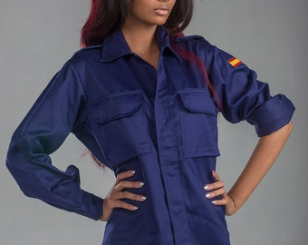 1980's AUTHENTIC Military Style VINTAGE Spanish Navy Ladies-Women's Navy Blue Field Shirt / Jacket By Top Rank Vintage ( UNISSUED)