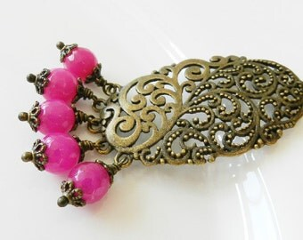 Fuchsia necklace, hot pink jewelry, bronze rustic necklace, gift for her, vintage style wedding jewelry, beaded necklace