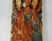 Archangel  Stone Icon Religious Holy Angel Rustic Art Plaque Handmade Christian Home Decor
