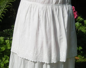 Vintage Antique 1900's  PETTICOAT embroidered scalloped tiered W 24""