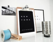 New York The City That Never Sleeps Art Print Minimal Wall Art Hipster Modern Typography Home Office Decor Travel Print in Black or White