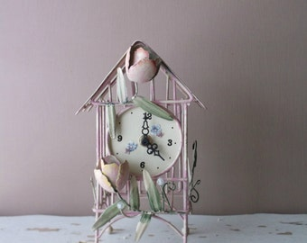 Tole Tabletop Clock.  French Chic Birdcage Clock. French Chateau Style. Boudoir Bedside table. Petite  Ornate  SpringTime Pastels