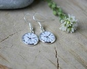 Vintage Style Clock Face Dangle Earrings, Silver Plated, Glass Cabochon