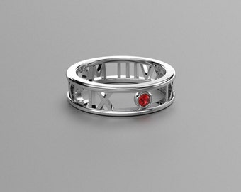 Round Ruby Roman Numeral Ring in Solid 14k, 18k White Gold and Platinum. Valentine's Day Gift for Couples. Wedding & Anniversaries