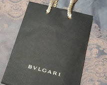 Small New BVLGARI Black Gift Bag, Carrier with gold strings - Re-gifting, for her - Just obtained - Singapore