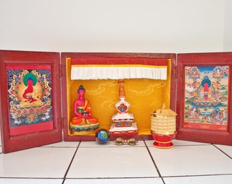 Vintage Meditation Shrine / Travel and Portable Boxed Temple Shrine