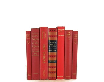 Red  Vintage Books ,   Decorative Books ,  Wedding Decor,  Gift For Book Lover, Gift for Her , Home Decor,  Photography Prop
