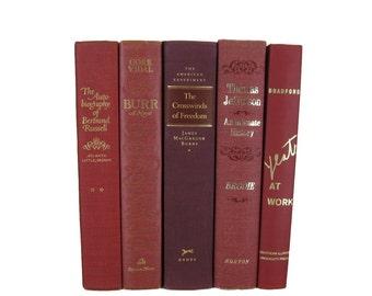 Shades of Maroon  Red  Decorative Books , Vintage Books , Home Decor , Old Books , Vintage Photo Props , Table Setting , Wedding Decor