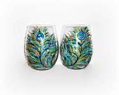 Peacock Feathers Hand Painted Stemless Wine Glasses Set of 2- 21 oz Handpainted Wine Glasses Wedding Anniversary Birthday Gift Made To Order