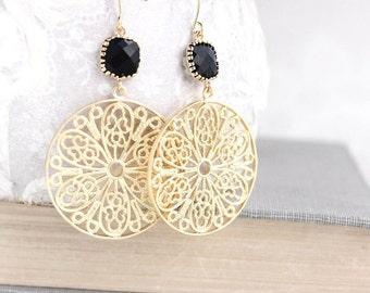 Gold Filigree Earrings Jet Black Glass Jewel Earrings Large Statement Dangle Earrings Modern Boho Round Circle Floral Lace Mesh Nickel Free