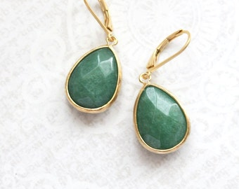 Leaf Green Earrings Simple Drop Earrings Matte Gold Teardrop Emerald Green Glass Modern Minimalist Dangle Earrings Christmas Gift For Her