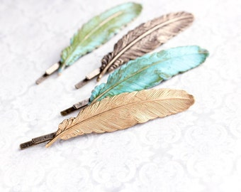 Feather Bobby Pin Gold Brass Feather Bobbies Nature Hair Accessories Woodland Wedding Rustic Verdigris Patina Bridesmaids Gift (One Piece)
