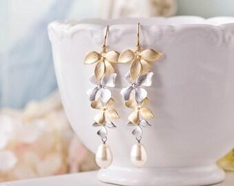 Bridal Earrings, Gold and Silver Earrings, Wedding Earrings, Bridesmaid Earrings, Orchid Flower Teardrop Cream Pearl Long Dangle Earrings