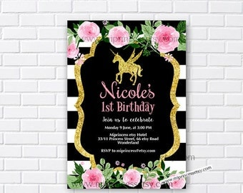 Unicorn invites, Birthday Invitation, gold unicorn girl birthday party for any age 1st 2nd 3rd 4th 5th 6th 7th 8th 9th 10th- card 944