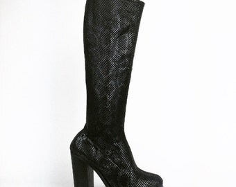 90's Destroy Shimmer Snake Fabric Chunky High Heel Knee Boots // 7