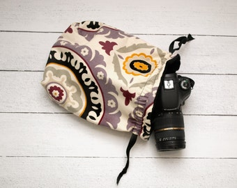 DSLR Camera Bag - Camera Bags for Women - Purple Camera Strap - Camera Accessories - Photographer Gift - Sassy Sack Purple Medallion