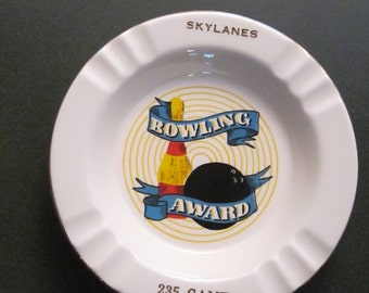 Fun 1950s Skylanes Bowling Alley Ashtray - Fun Vintage Decor for Man Cave Sports Bar or Desk - 22 KT Trimmed Award for 235 Game