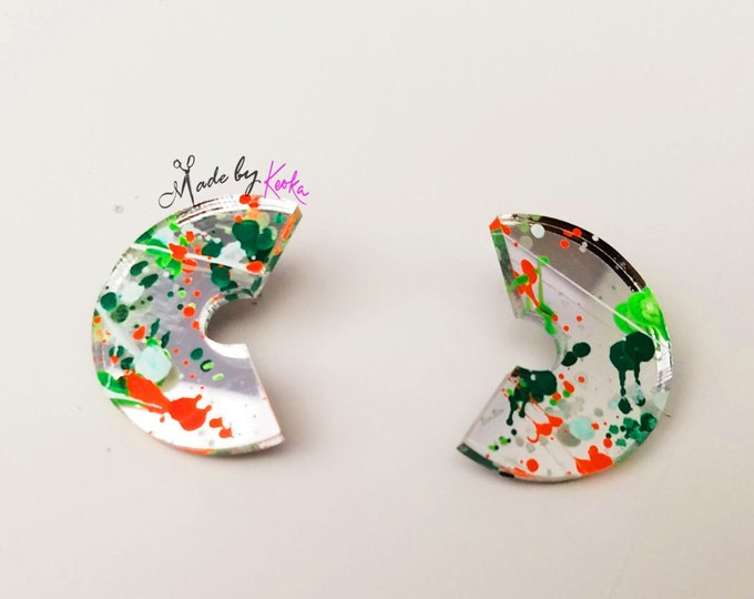 Splat Paint Silver Disc Studs 3
