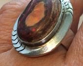 Mens Huge STERLING SILVER AUSTRALIAN Boulder  Opal Orange 15.6 grams Ring Size 12