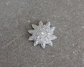 Beaded Silver Sunburst Hair Clip