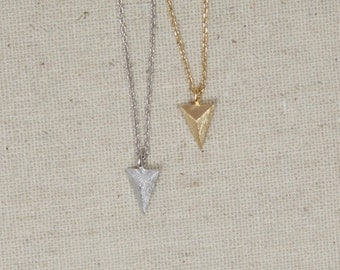 Tiny Matte Finished Arrow Head Necklace, You Choose Color, Tribal, Faceted Triangle, Geometric, Minimalist