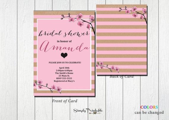 Bridal Shower Invitation, Rustic, Pink Striped, Watercolor Floral Invite, Wedding Shower