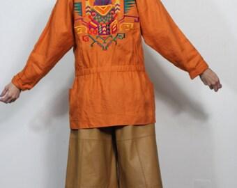 Vintage 80s 90s Linen Jacket Oversized Boxy Boyrfriend Fit Embroidered Unique Festival Boho Spring Summer Coat