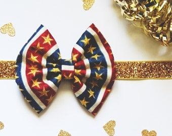 Gold Red Blue Baby Headband, Newborn Headband, Infant Headband Toddler, Red Blue Bow Stars, 4th of July Headband, Country Headband Cowgirl
