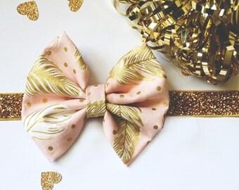 Gold Peach Baby Headband, Newborn Headband, Infant Headband Toddler, Boho Headband, Spring Headband, Gold Feathers, Baby Gift, Bow Headband