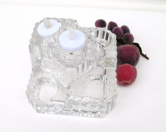 Vintage Glass Candle Holder,  5 Tier Candle Stand, Tealight Holder, Partylite Castle, German Candleholder