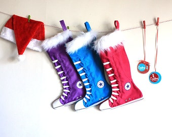 Personalized Christmas Stockings set of 3:  Family Stockings, Purple, Blue and Hot Pink