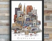 Cleveland Skyline group picture- art print