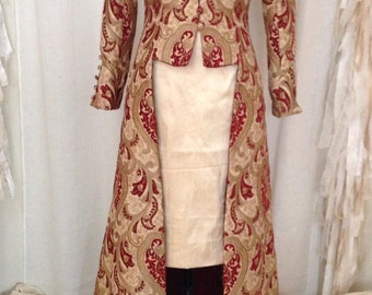 Gold and Burgundy Long Edwardian Coat, Custom Made to Order