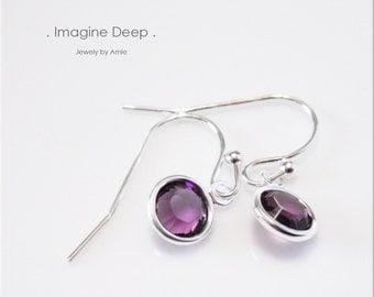 Purple Crystal Drop Earrings Sterling Silver Amethyst -like Swarovski Crystal Birthstone Dangle Earrings - 30% off SPECIAL