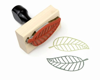 Rubber Stamp Leaf - Natural Wedding DIY - Wood Mounted Stamp - Ready to Ship