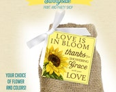 Floral Favor Tag, Bridal Shower Favor, You Choose Flower and Colors - PRINTABLE, Love is in bloom, Sunflower
