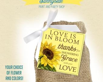 Floral Favor Tag, Bridal Shower Favor, You Choose Flower and Colors - PRINTABLE, Love is in bloom, Sunflower