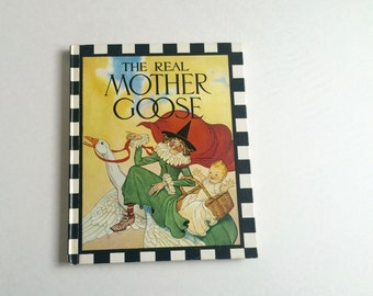 The Real Mother Goose by Rand McNally and Co. 1986 / nursery rhymes / vintage nursery / baby shower gift / twins /