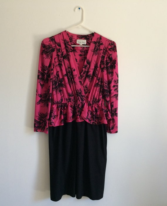 1980s peplum new wave floral ruffle fishtail indie hipster dress
