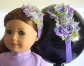 """Doll & Me Headband Set Green and Purple Floral Print Flower w/ Rhinestone Center Girl and 18"""" Doll Accessory Christmas Birthday Girl Gift"""