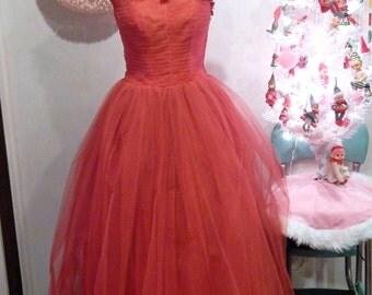 Vintage Ball Gown - Red Dress - Vintage Red Dress - Tulle Dress - Full Skirt
