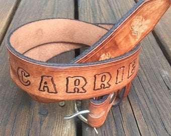 Vintage tooled leather belt - Name and roses
