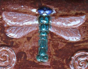 Handmade ceramic pottery tray with dragonfly motif