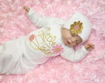 Little Sister Outfit Pink Gold Glitter Newbown Girl coming Home Outfit Baby Girl Clothes Newborn girl Take Home outfit Baby Girl Gift Set