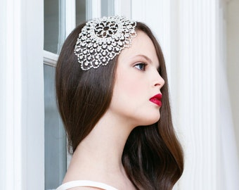 Silver Rhinestone Bridal Headpiece, Art Deco Rhinestone Headpiece, Silver Rhinestone Hair Accessory, Rhinestone Wedding Accessory STARLET