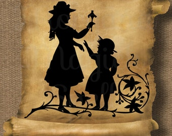 FAIRY TALE SILHOUETTE Royalty Free Clipart Tatoo Clipart Illustration  Digital Image Download Printable Graphic Clip Art Transfers Prints