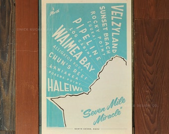 North Shore Oahu Surf Map - 12x18 Retro Hawaii Travel Print