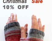 Dark Gray Arm Warmer Knitting Fingerless Gloves / Batik colors / Cream and Pink / Arm Mittens / Valentines days Spring fashion