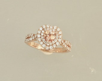 Heart Shape Peach Sapphire Vintage Engagement Ring 14k Rose Gold Diamond Halo Weddings Anniversary