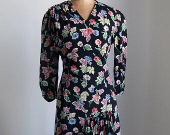 1940s Dark florals rayon day dress